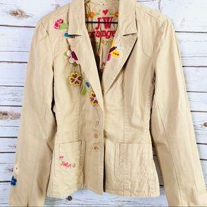 Johnny Was LA Tan Embroidered Blazer/Jacket.